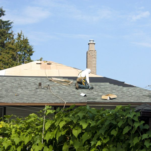 Re-roofing being done on a house in Vancouver